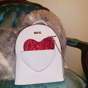 NWT Aldo White faux leather backpack Heart detail